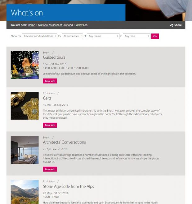 The What's On listing for the national Museum of Scotland