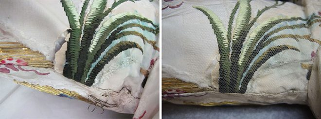 Left image showing underarm damage before conservation. Right image showing underarm damage after conservation.