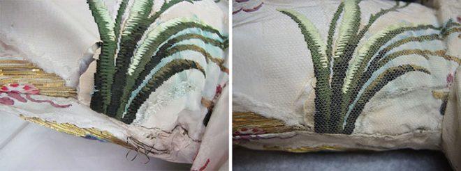 Left image showing underarm damage before conservation. Right image showing underarm damage after conservation.