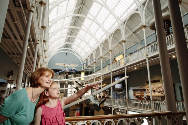 Viewing the Science and Technology galleries at National Museum of Scotland © Peter Dibdin.
