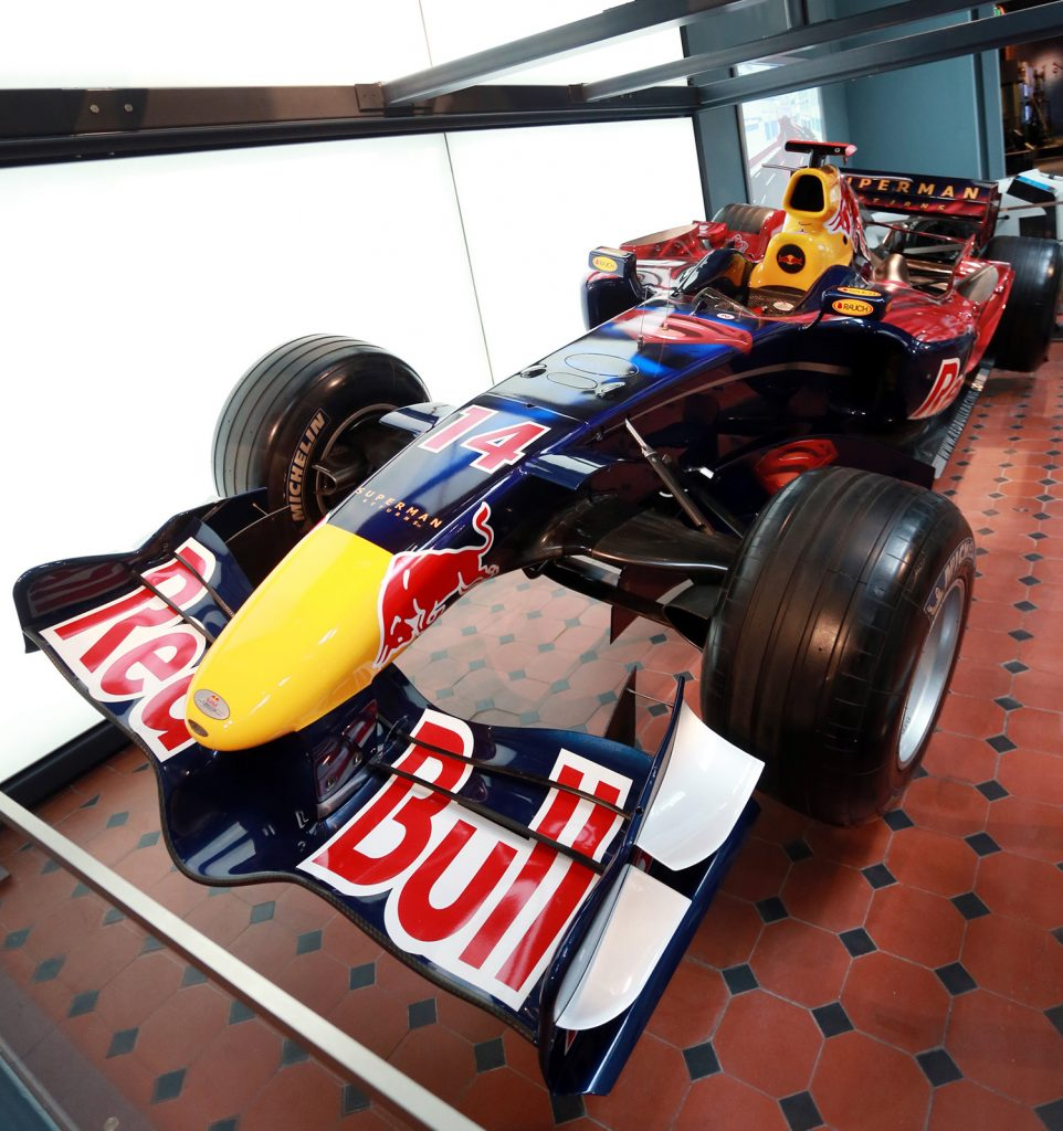 Red Bull RB2 Formula 1 racing car, 2006 on display in Explore at National Museum of Scotland.