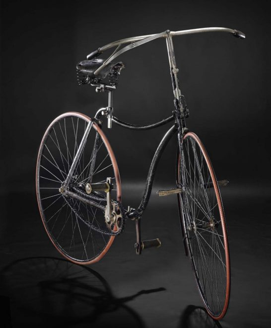 """Rover"" safety bicycle with solid rubber tyres, made by J.K. Starley of Starley & Sons, Coventry, c. 1888."