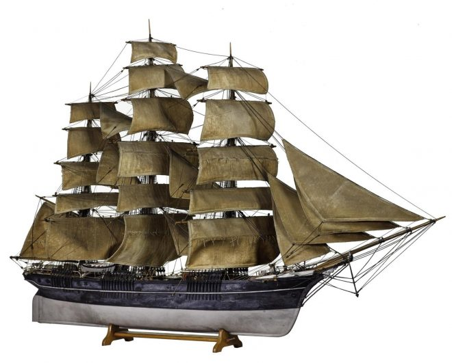 Model of a full-rigged ship c. 1875 on display in technology by Design, Level 3 of National Museum of Scotland.