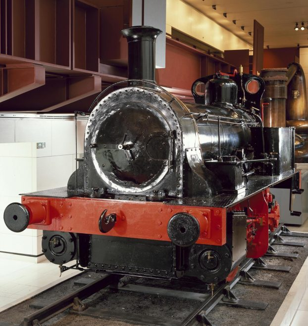Industrial locomotive, with the name Ellesmere, built by Hawthorns and Co. of Leith in 1861 for a colliery at Leigh, Lancashire, where it worked until 1957, on display in Industry and Empire, National Museum of Scotland.