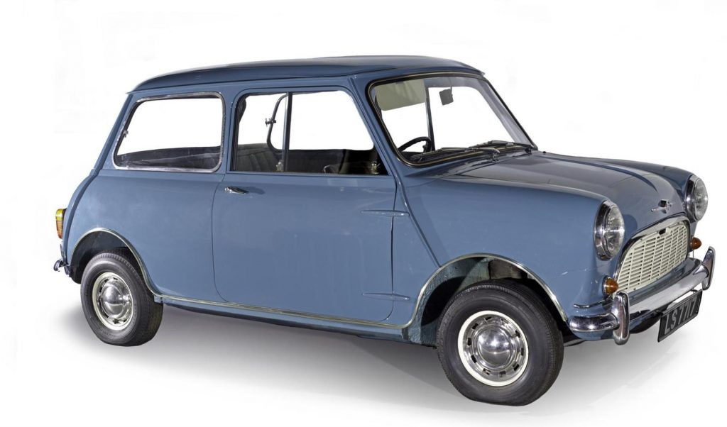 Morris Mini-Minor motor car, registration LS7717, 1959 on display in Hawthornden Court at National Museum of Scotland.
