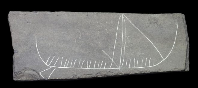 Stone; drawing of ship, high prow and stern, mast, rigging, broad steering oar; lattice pattern on back from Jarlshof, Shetland dating 800 - 1100 AD.
