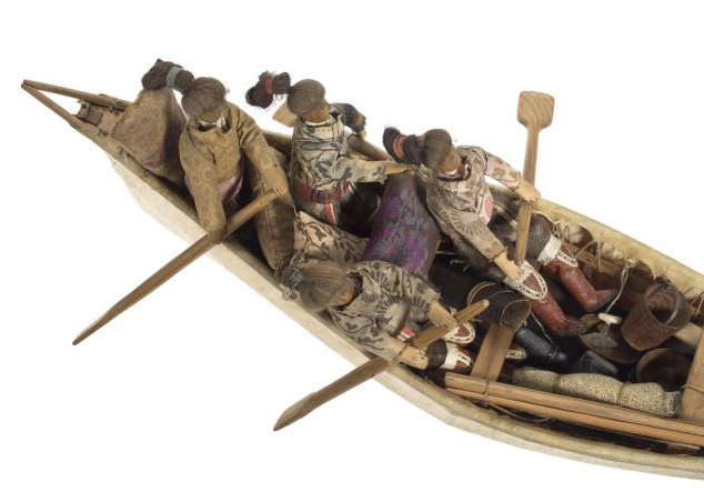 Detail inside a flat bottomed model oomiak (boat) on display in Living Lands at National Museum of Scotland.