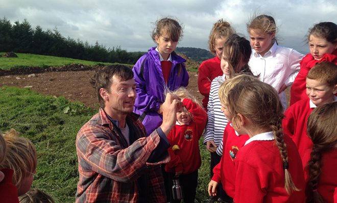 Training the next generation of archaeologists – kids from Palnackie Primary School learning about their finds