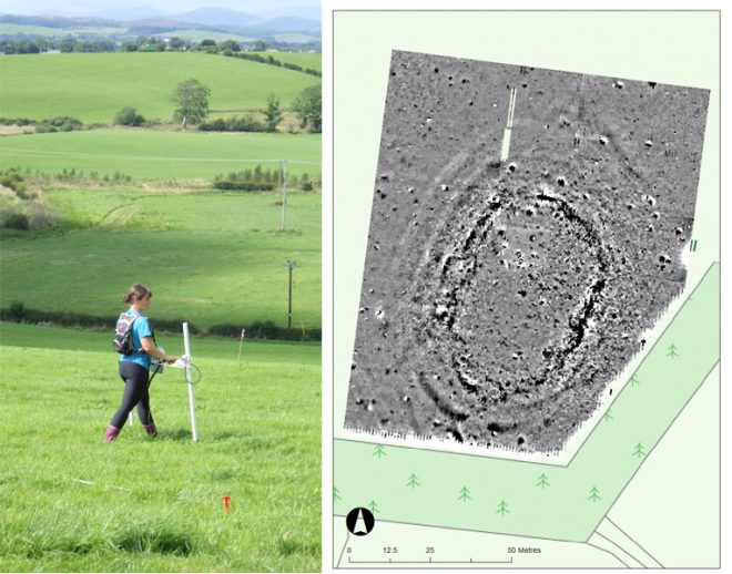 Left image: Geophysics in action – Tessa Poller surveying the hillfort. Right image: Results of the magnetometer survey of the hillfort