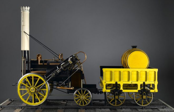 Working model of the Rocket locomotive on display in Window on the World at National Museum of Scotland.