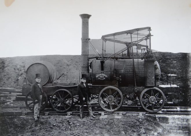 Wylam Dilly with Hedley's sons William and George, photographed between 1869 and 1882.