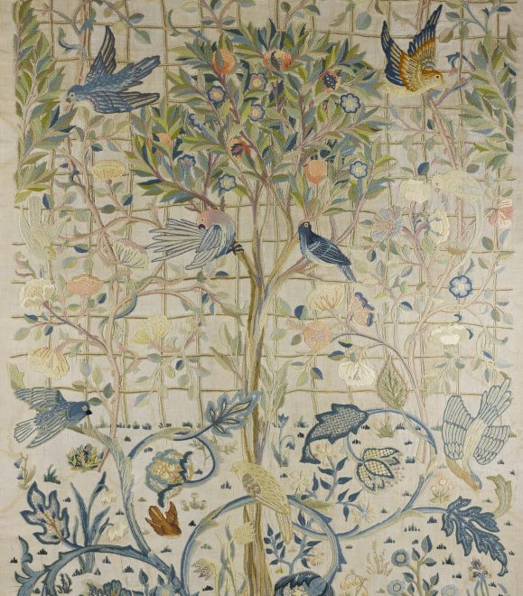 Section of the embroidery designed by May Morris, 1891, and worked by May Morris and Theodosia Middlemore, for Melsetter House, Orkney, 1898 - 1902