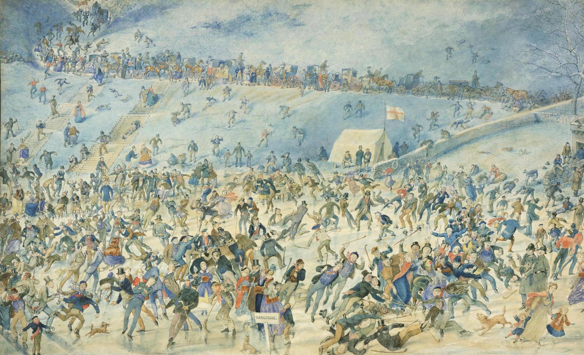 Watercolour of winter sports on a frozen Duddingston Loch, by Charles Altamont Doyle, 1876.