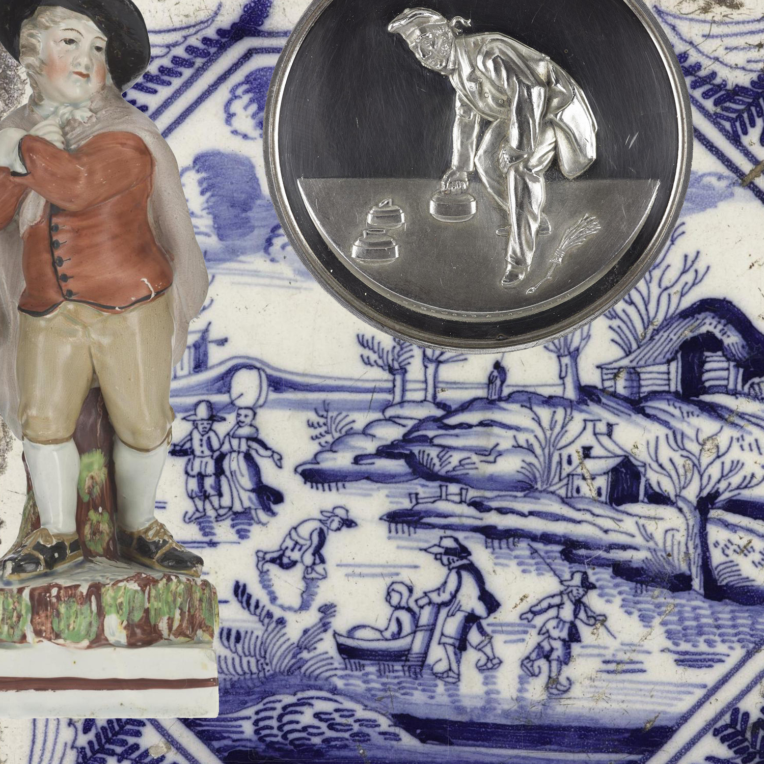 Montage of an earthenware figure of a boy skating, an enamelled earthenware tile painted in blue with a skating scene and a silver medal for curling.