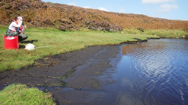 Summer: measuring the salinity of a lagoon on Uist