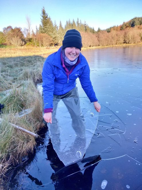 Winter: looking for lagoon invertebrates under the ice in Argyll