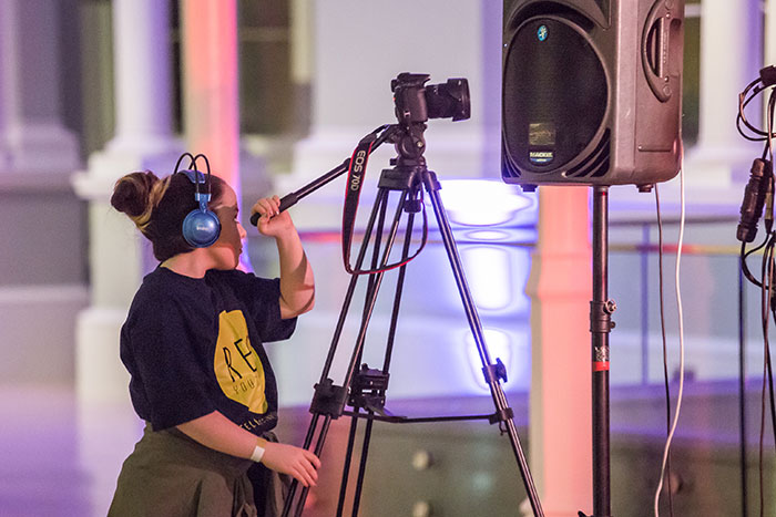 Young people and staff from Reel Youth Media capturing the night on film © Chris Scott.