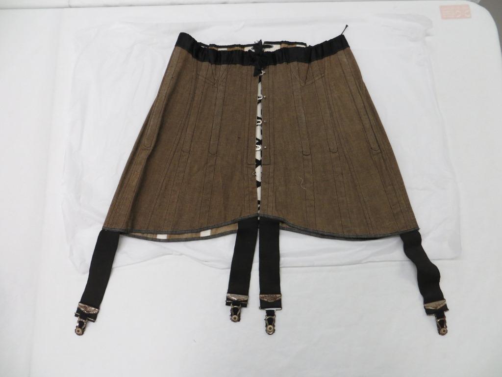 Brown twill corset, Arkella c.1910-1920 A.1989.61