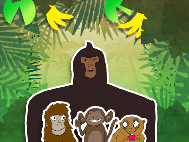 The first designs for Big G the gorilla, Rangy the orangutan, Chimper the chimpanzee and Cutey the slow Loris.