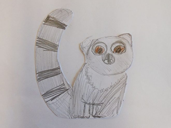 This delightful lemur was created by P7D from Kinnaird Primary School.