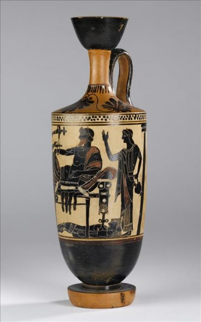 Black-figure lekythos on a white background showing a scene from the Iliad. Edinburgh Painter. Attic, late sixth/early fifth century BC. Shown from two angles.