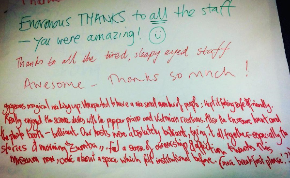Comments from guests at the museum sleepover