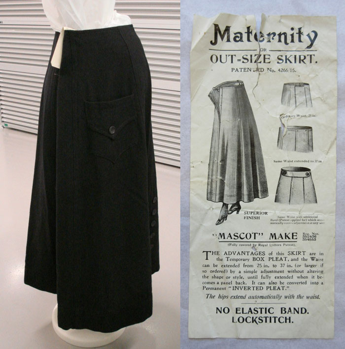 Black wool maternity skirt c.1910-1915 A.1989.83