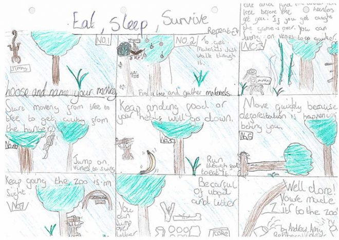 A storyboard with an environmental message, sent in by P7A from Dean Park School.