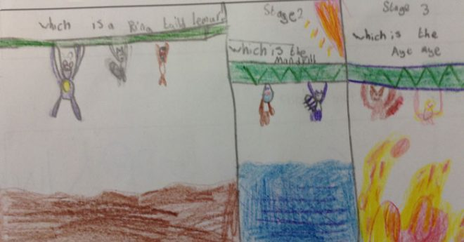A dramatic storyboard from P5/4P Trinity Primary School.