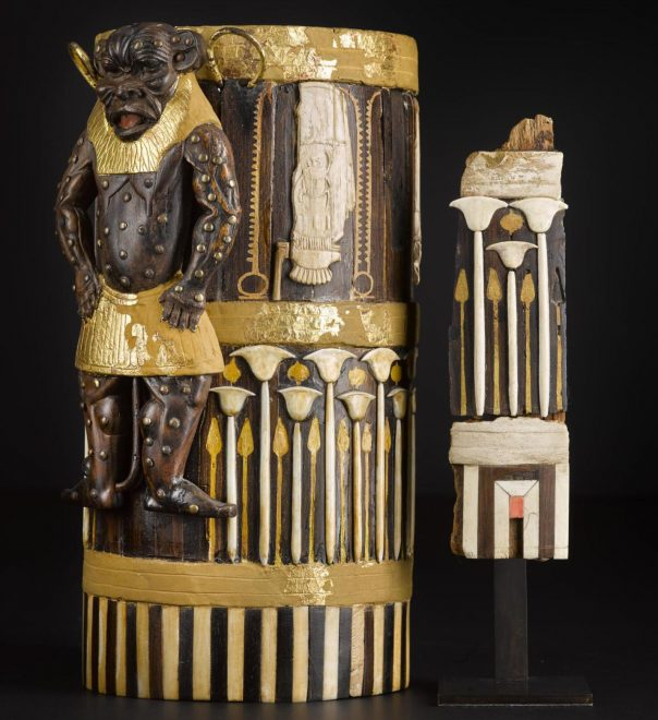 Box of cedar wood with ebony veneers and ivory inlays and gilding depicting the god Bes and cartouches of King Amenhotep II, with fragments acquired with the support of the Art Fund and National Museums Scotland Charitable Trust: Thebes, Egypt, c.1427–1400BC.