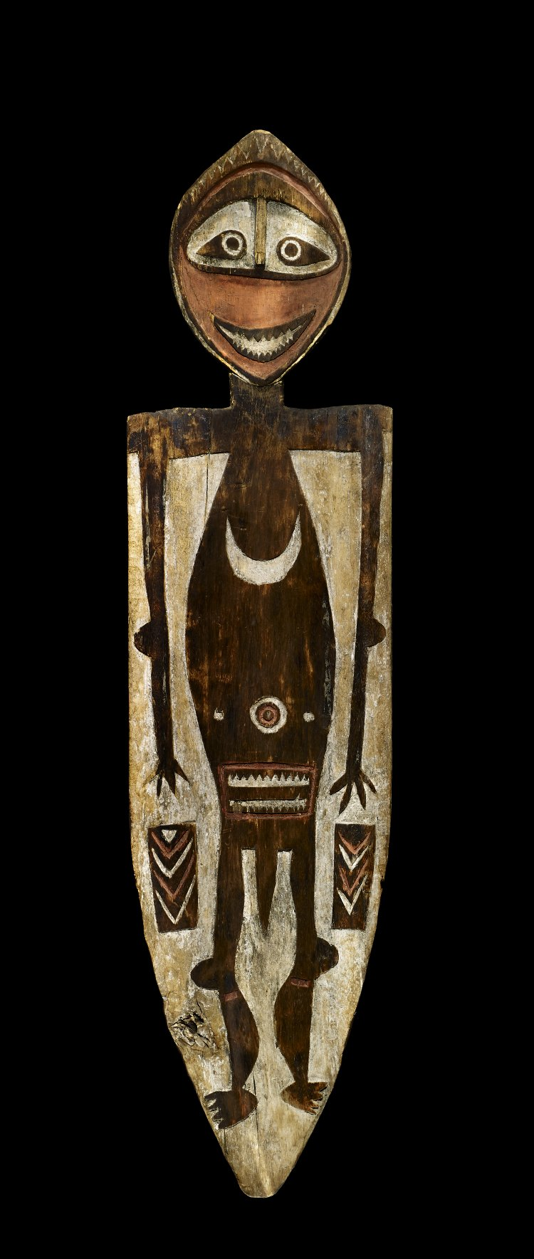 Painted ancestor board from the Gulf of Papua, Oc1914,0418.42. © The Trustees of the British Museum (CC BY-NC-SA 4.0).