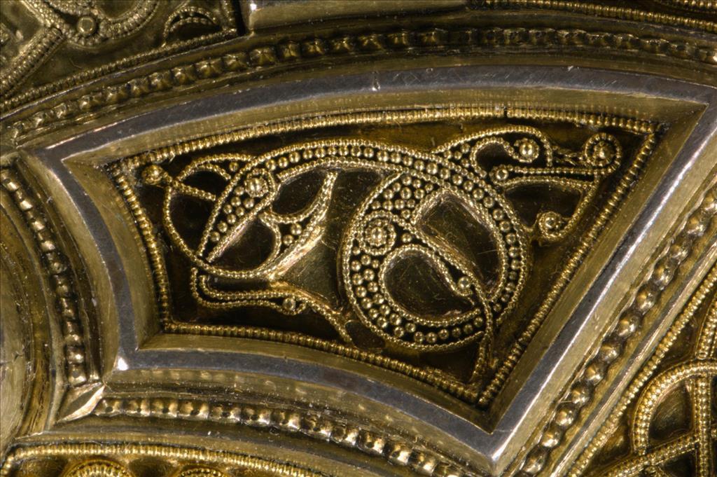 Filigree detail showing a hidden animal on the Hunterston Brooch