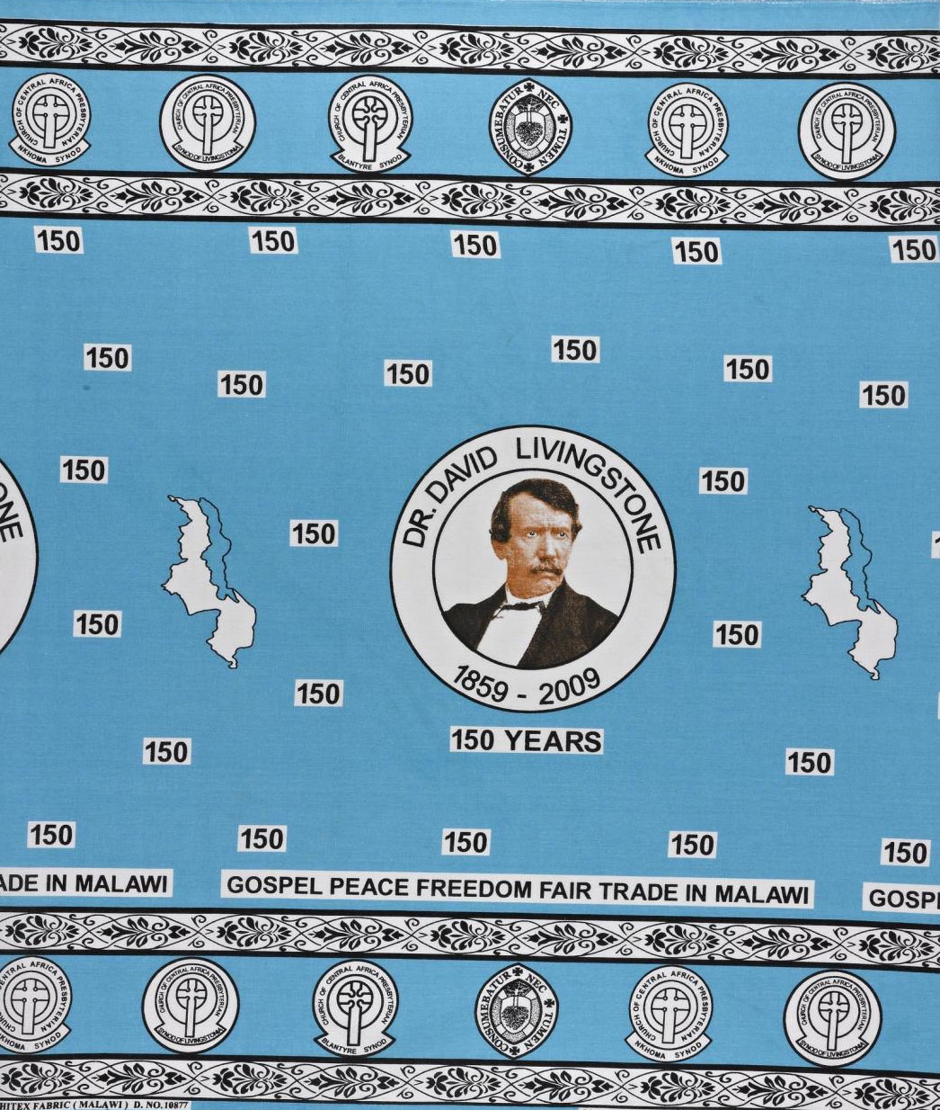 Cotton cloth commissioned by the Church of Central Africa Presbyterian to commemorate 150 years since the arrival of Scottish missionary David Livingstone in Malawi: Africa, Southern Africa, Malawi, 2009.