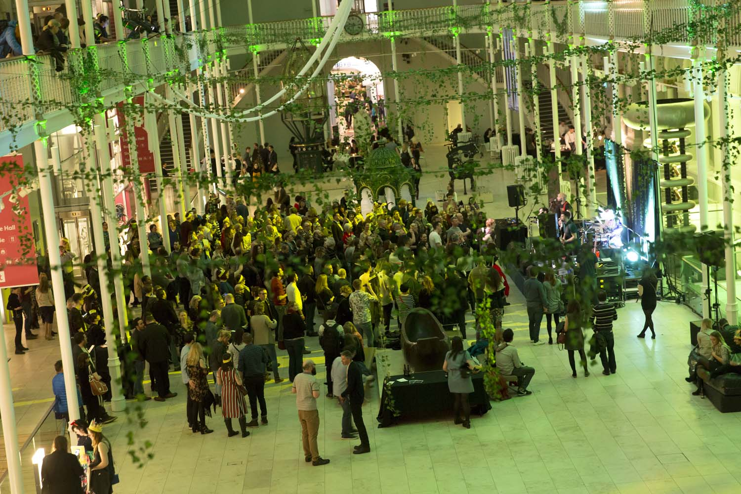 The Grand Gallery at the National Museum of Scotland is transformed into a jungle for Museum Late: Monkey Business.