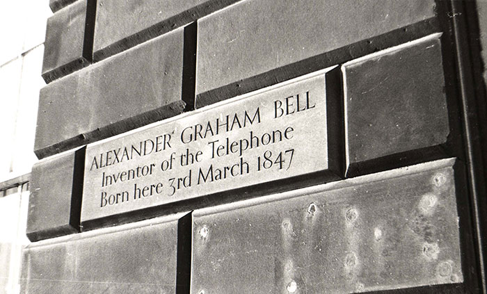 The plaque marking Bell's birthplace at Charlotte Square.