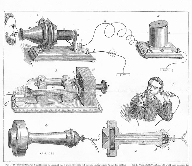 Illustration of the equipment demonstrated by Bell in London in December 1877. The Illustrated London News Dec 15 1877