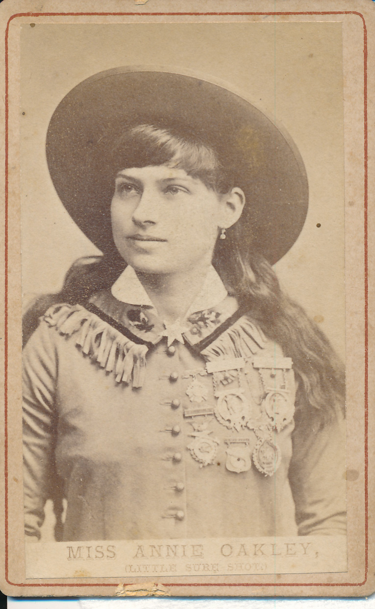 Carte-de-visite depicting Miss Annie Oakley (Little Sure Shot), by an unknown photographer