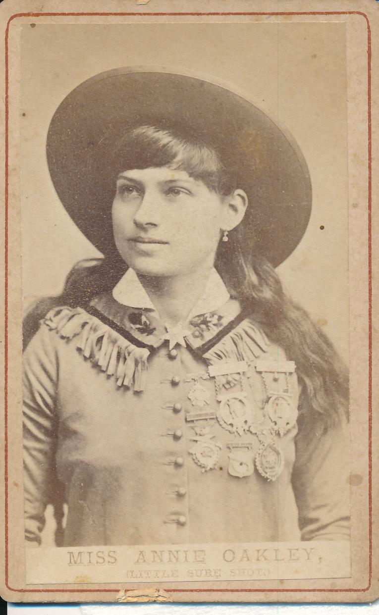 Carte-de-visite depicting Miss Annie Oakley (Little Sure Shot), by an unknown photographer