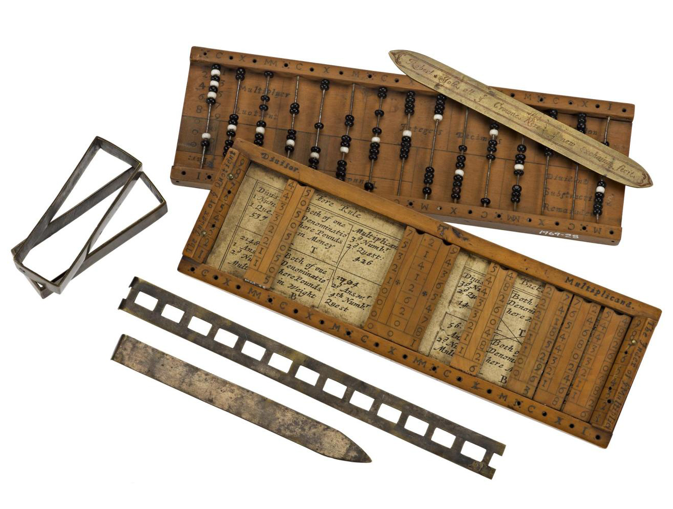 Arithmetical compendium, combining strip form Napier's Bones and bead-type abbacus, in boxwood case, by Robert Jole of London, c. 1670
