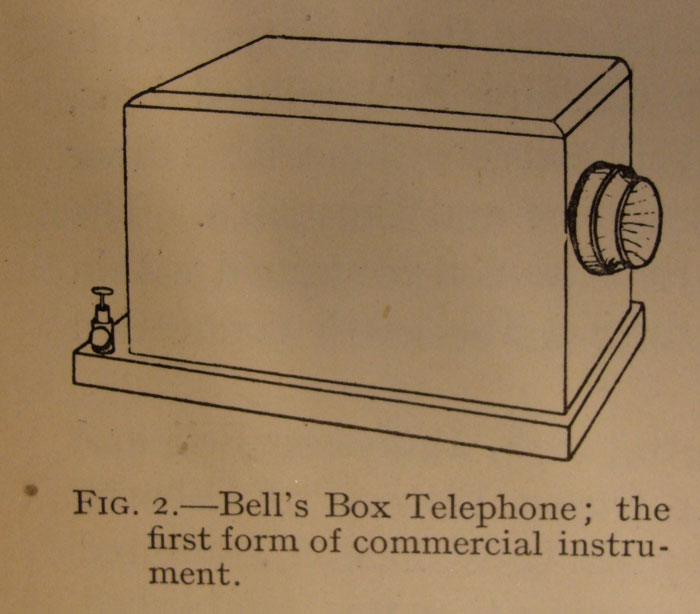 Bell's box telephone with lid. Mounted to a wall or table, it had only one transmitter/receiver.