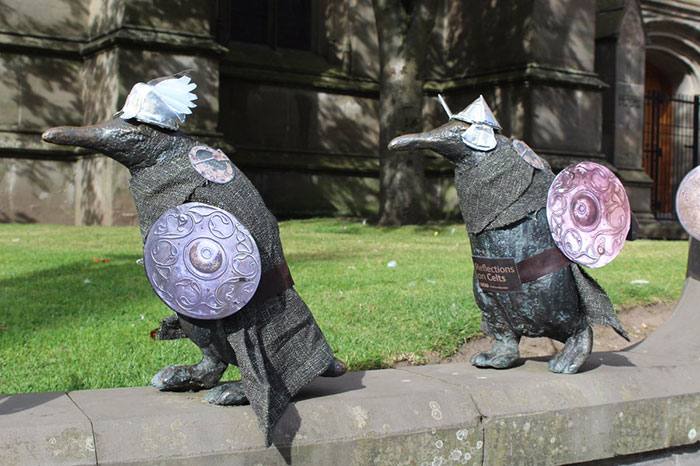 Dundee Penguins' public art sculptures as Celtic warriors!