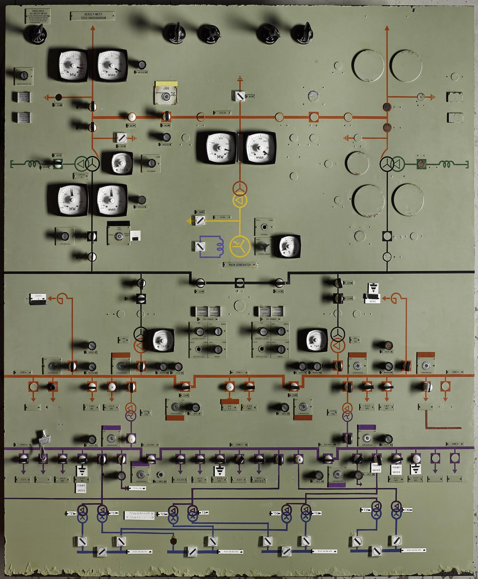 Electrical panel, used in the Prototype fast Reactor control room, Dounreay fast reactor research and development site, Caithness, 1970.
