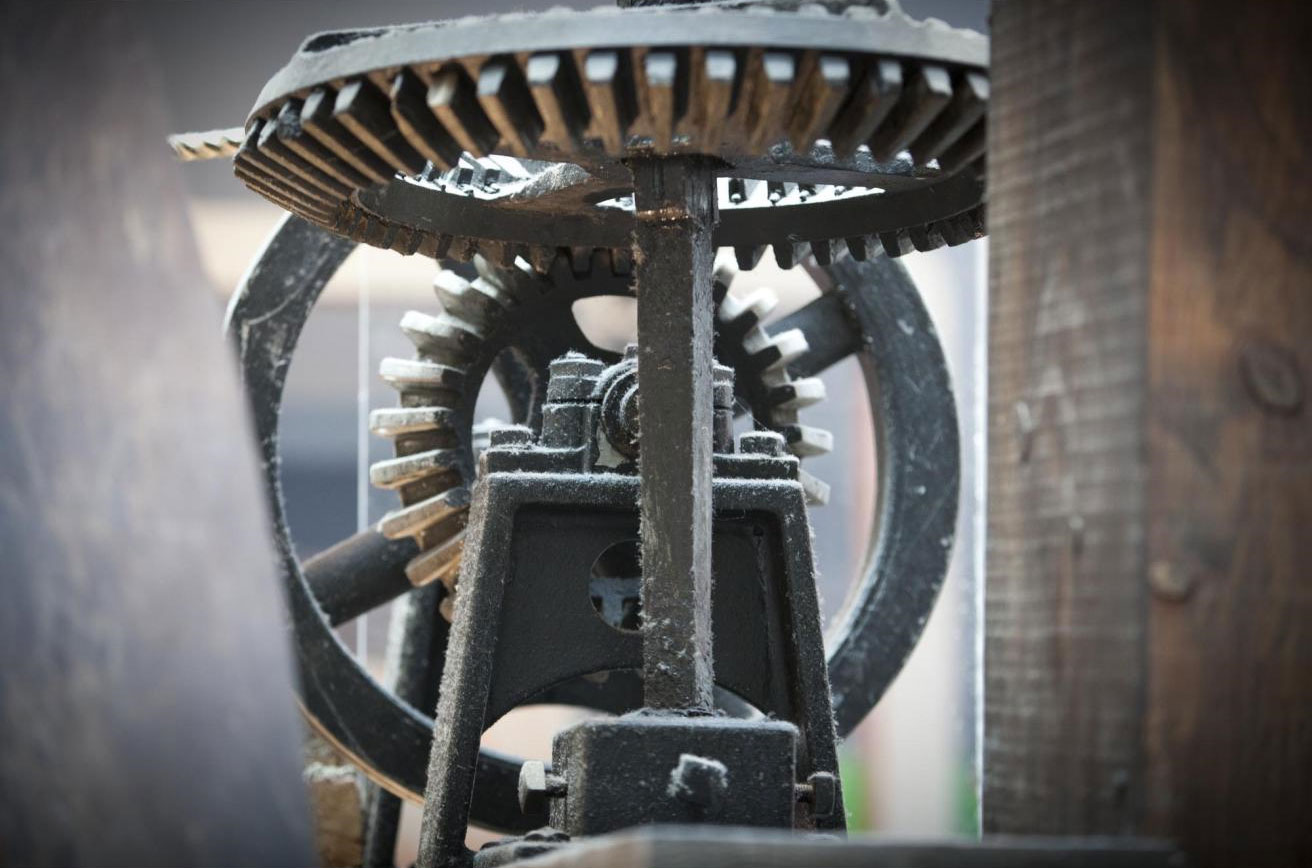Detail of the Boulton and Watt engine in the Explore gallery. showing cogs and wheels.