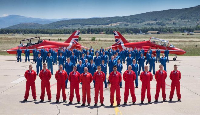 The 2017 Royal Air Force Aerobatic Team, the Red Arrows at the Hellenic Air Force Base (HAF) in Tanagra, Greece © MOD Crown Copyright