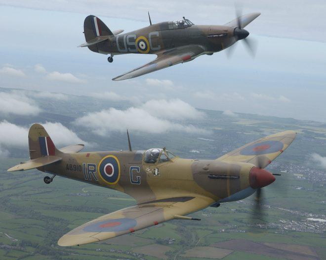 Battle of Britain Memorial Flight's Hurricane Mark II and Spitfire over Blackpool.
