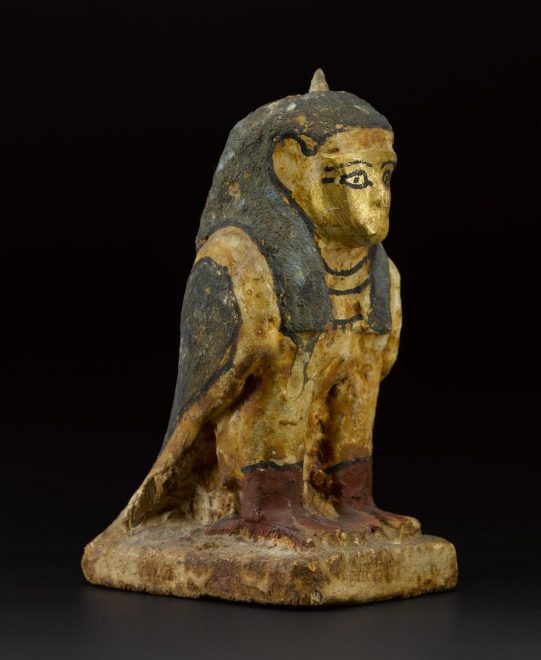Caption: Painted wooden statuette of a ba-bird, with the body in the form of a falcon and the head in the form of a human, Egypt, c.747-525 BC