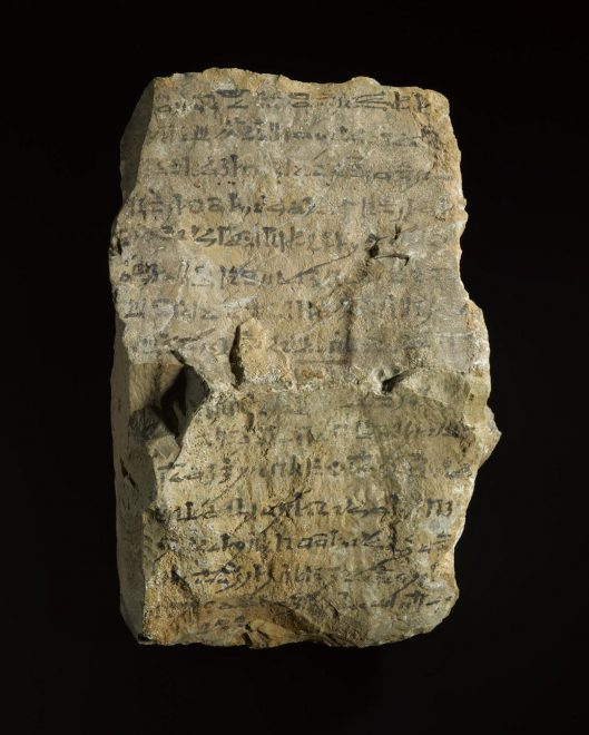 A stone inscribed in black ink with a tomb warning , Sheikh Abd el-Qurna, Egypt, c.1295-1069 BC