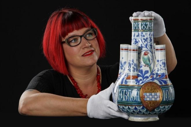 Sally-Anne with the Burges vase.