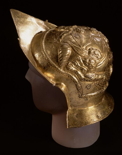 brass parade helmet from Newstead