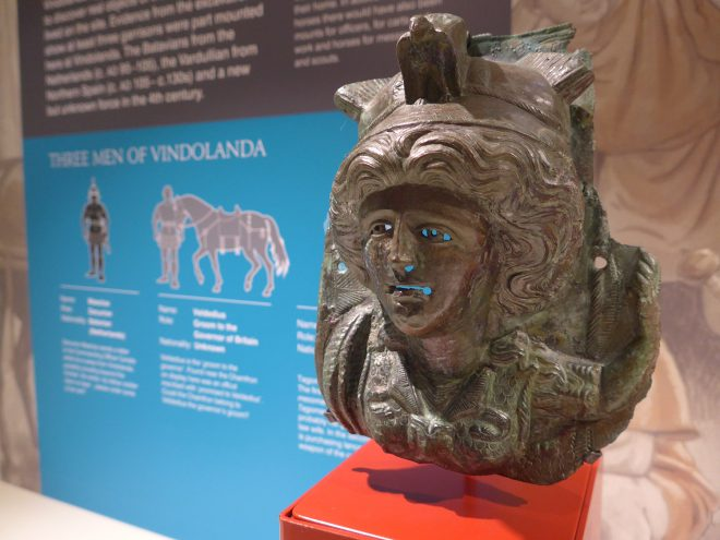 part of a bronze horse-mask (chamfron) in the form of the goddess Minerva (from a private collection, © Minerva Heritage 2017)]